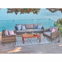 Nouveau Ravenna and Milano 4 Piece Lounge Setting Setting includes: 2 single loungers, 1 triple lounger and a coffee table. All-weather wicker. Outdoor Furniture Sets, Outdoor Decor, Ravenna, Seat Cushions, Sun Lounger, Teak, Wicker, Outdoor Living, Hardwood