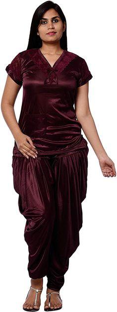 6ee7f69350 Pretty Awesome Women s Satin Patiala Night Suit (Majneta)  Amazon.in   Clothing