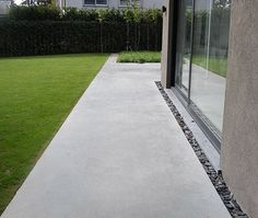 the hardscape can be simple but have some modern detail for accents and to define boundaries - like separating the driveway from the gravel maintenance access drive Concrete Patios, Poured Concrete Patio, Landscape Architecture, Landscape Design, Garden Design, Outdoor Paving, Outdoor Gardens, House Foundation, Garden Paths