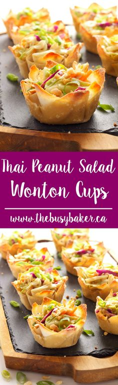 These Thai Peanut Salad Wonton Cups feature a delicious Thai-inspired peanut dressing over shredded veggies, topped with crushed peanuts! via The Busy Baker Thai Peanut Salad Wonton Cups Suzanne Miller Recipes These Thai Peanut Salad Won Healthy Appetizers, Appetizers For Party, Appetizer Recipes, Delicious Appetizers, Thai Appetizer, Light Appetizers, Appetizer Ideas, Freezable Appetizers, Avacado Appetizers