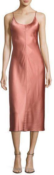 Alexander Wang Sleeveless Satin Slip Dress W/ Threadwork, Pink