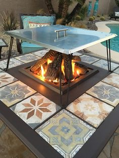Heat Warden USA Made Heat Deflector/ Reflector for gas fire pits. Square Fire Pit, Round Fire Pit, Fire Pit Heat Deflector, Patio Heater, Gas Fires, Fire Pits, Outdoor Decor, Decorating, Furniture