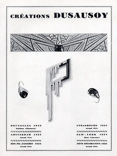 Advert for Dusausoy jewels from 1926 featuring earrings and a brooch made from diamonds and onyx as well as a geometric diamond bracelet.