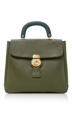 Burberry Portrait Tote - Crafted from textured army-green leather and accented with gold hardware, this 'The Portrait' tote opens to a suede-lined interior with multiple pockets to keep smaller items organized and secure. Detach the shoulder strap and carry yours by the top handle.
