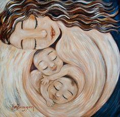 In Good Hands - mother with twins print by Katie m. Berggren
