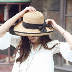 2fb0dcbd295 New Fashion Summer Korean Bowknot Sunscreen Beach Hats For Women Sun Hat  Floppy Chapeau Paille Femme Folding Ladies Straw Hats