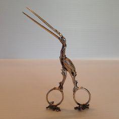 "silver antique midwife stork ""scissors"" umbilical clamp"