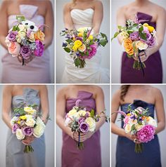 Instead of having only one color bridesmaid dress, using different shades of the same color can create a really great look for your wedding party.    Photo:  Joielala Photographie