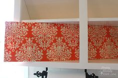 fabric covered foam board for back of cabinets genius!! Makes it easier to switch out when I get sick of it. Brilliant.