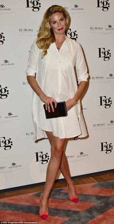 Leggy lady: Tamsin Egerton - who is pregnant with her first child with boyfriend Josh Hart...