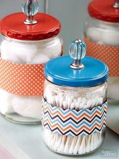 Use repurposed glass jars, such as pickle jars or mason jars to add pretty DIY style and organization to your home! Our project ideas include using pickle jars to store bathroom items such as cotton balls and Q-tips or using old mason jars to keep your ga Mason Jars, Mason Jar Crafts, Crafts With Jars, Diy Crafts Dress, Diy And Crafts, Tape Crafts, Glass Containers, Glass Jars, Storage Containers