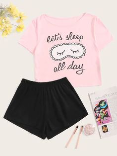 To find out about the Cartoon & Letter Print Pajama Set at SHEIN, part of our latest Pajama Sets ready to shop online today! Cute Pajama Sets, Cute Pjs, Cute Pajamas, Pajamas Women, Girls Fashion Clothes, Teen Fashion Outfits, Outfits For Teens, Girl Outfits, Gothic Fashion