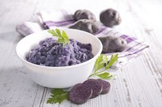 Mashed Purple Sweet Potatoes - w/ coconut oil, hemp seeds, peppercorns, lemon