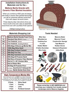 BrickWood Ovens most popular style Wood-Fired Outdoor Brick Pizza Oven plans. A set of these Mattone Barile Grande Installation Instructions and supplies from the Materials List shows you how to build America's Favorite DIY Pizza Oven. BrickWoodOvens.com