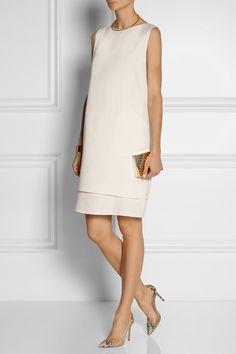OSCAR DE LA RENTA Wool-crepe shift dress EDDIE BORGO Enameled gold-plated choker