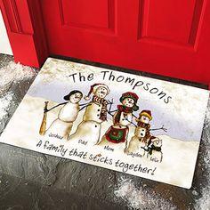 Personalized Snowmen Stick Family Doormat, 17x27
