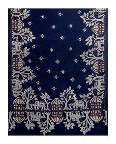 White and Saffron Kantha Embroidery on Dark Blue Cotton Stole (Cotton)