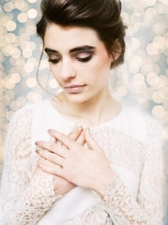 Pale Blue and Gold Urban Wedding Ideas - Long sleeve lace Rime Arodaky Gown - Peaches & Mint Photography