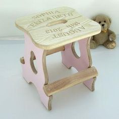 Engraved New Baby Stool - Give a Christening gift that shows they are truly cherished. Thoughtful and original, lots of the products can be personalised as they are created by talented independent designers or small creative businesses.