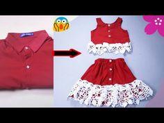 تحويل سريع من قميص رجالي قديم الى فستان طفله بكل سهوله - YouTube Baby Frock Pattern, Frock Patterns, Baby Girl Dress Patterns, Dress Sewing Patterns, Baby Girl Dresses, Baby Dress, Ruffle Skirt Tutorial, Diy 2019, Kids Dress Wear
