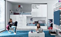 Compact Bunk Bed Ideas for Small Teenage Bedroom Interior Design. Contemporary Bright Teenage Bedroom Design In White And Navy Blue Color Scheme Feats Space Saver White Wooden Bed Platform Overlooking With Shelves Wall Unit.