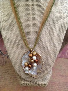 Mother of Pearl with Freshwater Pearls Pendant Necklace, Beautiful Freshwater Pearls Choker Perfect for All Occasions, Pearls on Ribbon Band