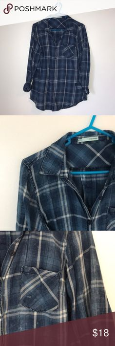 FLASH SALE $15 OR LESS: maurices flannel Blue and white cotton plaid, only worn once. Is colored with the dye that may rub off on you, so the tag with washing instructions is still attached. Maurices Tops Button Down Shirts