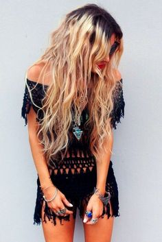 Sexy boho chic fringed romper with modern hippie gemstone turquoise arrow necklace. For the BEST Bohemian fashion trends for 2015 FOLLOW http://www.pinterest.com/happygolicky/the-best-boho-chic-fashion-bohemian-jewelry-gypsy-/ now