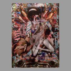 Mixed a media,acrylic, spray paint and collage on x 26 inchesUnique Shotgun Wedding, Acrylic Spray, Dark Side, The Darkest, Streetwear, Collage, Canvas, Artist, Painting