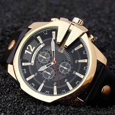 CURREN Big Dial MenS Watches Top Luxury Brand Blue Quartz Military Wrist Watch Men Clock Men's Watch Relogio Masculino
