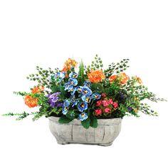 Mixed Garden Floral in Oblong Wooden Planter | Joss & Main