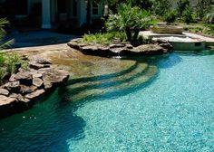 Pool Spa, Natural Swimming Pools, Natural Pools, Pool Cabana, Diy Pool, Walk In Pool, Kleiner Pool Design, Piscine Diy, Beach Entry Pool