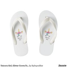 Unicorn Girl Glitter Crown Face Calligraphy Kid& Flip Flops - calligraphy gifts custom personalize diy create your own Cute Flip Flops, Girls Flip Flops, Beach Flip Flops, Flip Flop Shoes, Glitter Gifts, Gold Gifts, Gold Glitter, Birthday Gifts For Kids, Gifts For Girls