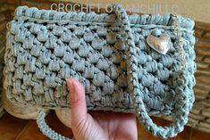 Crochet+O+Ganchillo:+BOLSO+DE+TRAPILLO+ARGENT+CON+CADENA