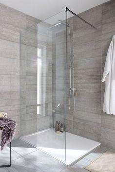 bathroom floor in dark grey with chevron pattern shower wall tile and glass doors. Bathroom Renos, Bathroom Layout, Modern Bathroom Design, Bathroom Interior, Small Bathroom, Master Bathroom, Master Shower, Kitchen Interior, Bad Inspiration