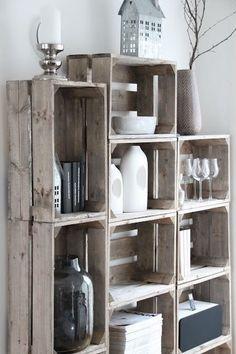 DIY Maak je eigen wandkast met behulp van vintage kisten