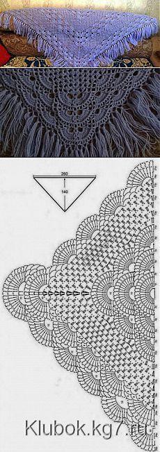 Шаль с веерным узором | Вязание крючком и спицами