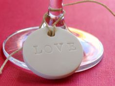 wedding favor clay circle LOVE tags  20 wedding by SeptemberLane, $20.00