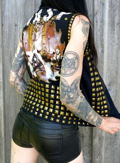 W.A.S.P. Studded Denim Vest by HellCouture on Etsy
