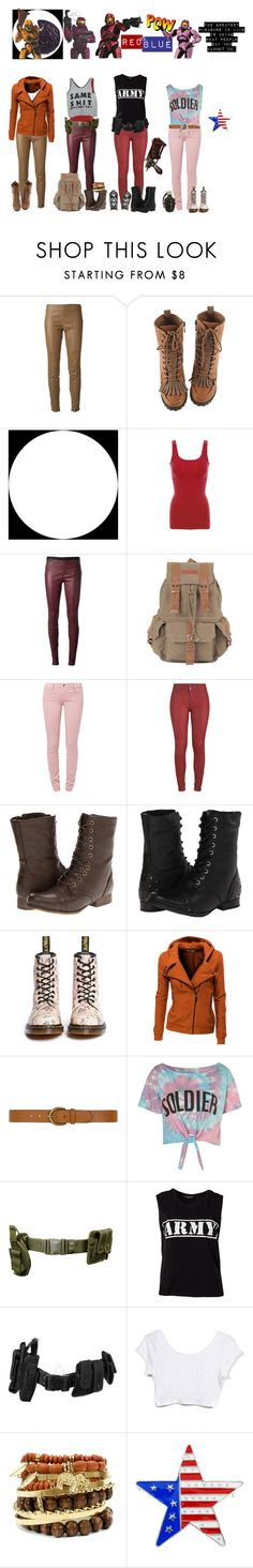"""""""Red team"""" by femme-mecha ❤ liked on Polyvore featuring Belstaff, Helmut Lang, Citizens of Humanity, APRIL MAY, Madden Girl, Naughty Monkey, Dr. Martens, Doublju, Dorothy Perkins and Illustrated People"""