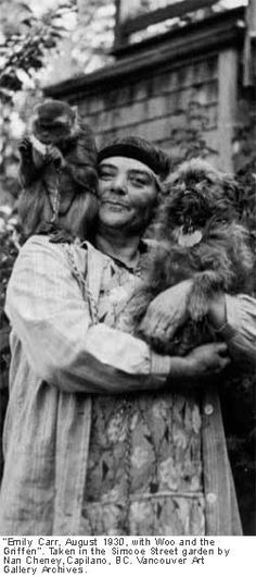 """Emily Carr (Canadian artist), August with Woo and the Griffen"" by Nan Cheney. Canadian Painters, Canadian Artists, Emily Carr Paintings, Photos With Dog, Group Of Seven, Brussels Griffon, Impressionist Paintings, Aboriginal Art, Native Art"