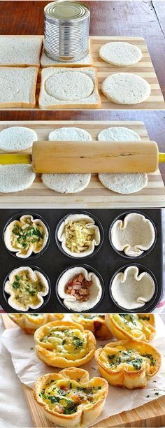 Ingredients: 1 rasher of bacon, rind removed, diced / oz) ¼ onion, finely diced (brown, white or yellow) 1 tsp oil 6 slice. Snacks Für Party, Easy Snacks, Healthy Snacks, Confort Food, Quiche, Love Food, Appetizer Recipes, Food To Make, Gastronomia