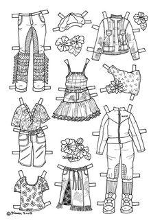 Karen`s Paper Dolls: Josefine 1-4 Paper Doll to Colour. Påklædningsdukke Josefine 1-4 til at farvelægge.