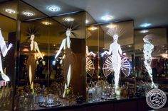 Etched Erte mirrors at Petrossian in NYC, New York