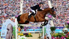 Scott Brash of Great Britain riding Hello Sanctos competes in the third qualifier of Individual Jumping on Day 10 of the London 2012 Olympic Games at Greenwich Park.