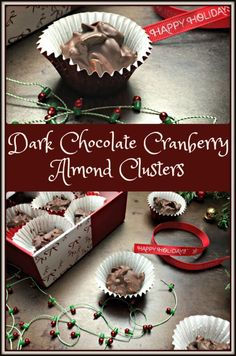 These no-bake Dark Chocolate Cranberry Almond Clusters are quick & easy to make; they're healthy & they make great hostess gifts.