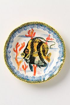 Angelfish Plate #anthropologie -- so cute for at the beach to use or hang a set on the walls for decor