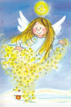 Virpi Pekkala Cute Paintings, Watercolor Paintings, Illustrations, Illustration Art, Art Sketches, Art Drawings, Seraph Angel, Animated Clipart, Winter Art