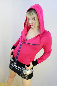 Hot Pink Motorcycle Asymmetrical Hoodie Jacket Neon by xannabotx, $54.00