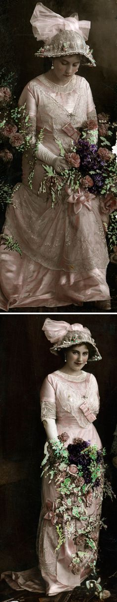 """Studio portraits of woman in pink dress ca. 1900s-1910s. was later hand-colored, although the State Library of Victoria (Aust.) says simply """"color."""""""